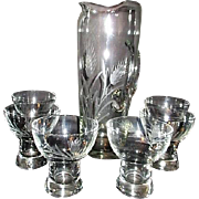 8 Piece Clear Glass Martini Set with Wheat Pattern