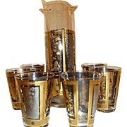 8 Piece Clear Glass Martini Set with Gold Asian Pattern