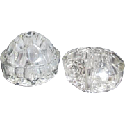 Two Domed Clear Glass Flower Frogs