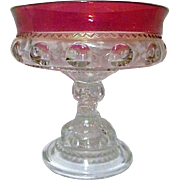 Indiana Glass Ruby Red Flash Glass Rim King's Crown Thumbprint Compote