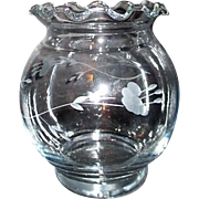 Princess House Hand Blown Crystal Round Vase with Heritage Pattern