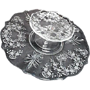 Two Piece Two Tiered Elegant Glass with Etched Floral Pattern Server