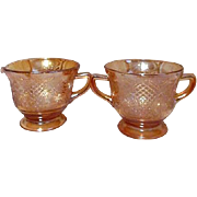 Federal Glass Co Normandie Pattern Iridescent Cream and Sugar Set