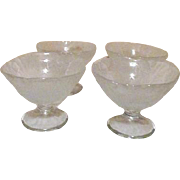 Set of 4 Frosted Glass Footed Dessert Bowls Leaf Overlay Design
