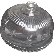 Glass Cake Cover Dome from France Etched Floral Pattern
