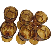 Set of 6 Amber Footed Water Goblets