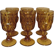 Set of 6 Amber Footed Wine Goblets