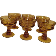 Set of 6 Amber Footed Sherbet Bowls