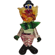 Murano Art Glass Colorful Standing Clown from Italy