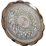American Heritage Sterling Silver Banded Glass Divided Relish Plate