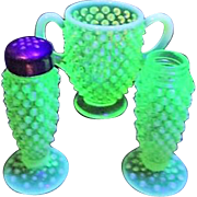 Fenton Topaz  Opalescent Hobnail Sugar Bowl and Salt & Pepper