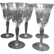 Set of 5 Tall Wine Goblets with Etched Design
