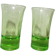 Pair of Uranium Florescent Green Glass Shot Glasses