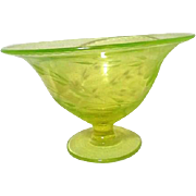 Uranium Florescent Green Glass Bowl with Etched Floral Design