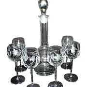 Crystal Etched Decanter with 6 Wine Goblets