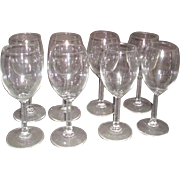 Set of 8 Clear Glass Wine Goblets with Columned Stems
