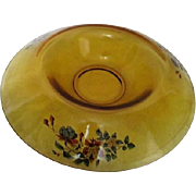 Yellow Glass Flange Bowl with Floral Decoration