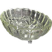 Large Footed Clear Glass Console Bowl by Indiana Glass Harvest Pattern
