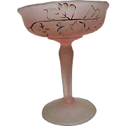 Pink Satin Footed Compote with Hand Painted Floral Design