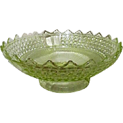 Florescent Vaseline Glass Footed Fruit Bowl with Toothed Rim
