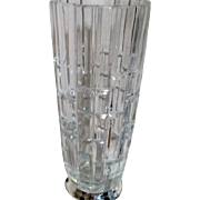 Heavy Crystal Vase with Silver Plated Base Square Design Cut