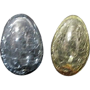 Pair of Crackle Glass Eggs One Yellow One Blue