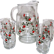 Glass Water Pitcher and 4 Matching Glasses with Red Roses
