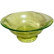 Florescent Green Oval Footed Bowl with Handles