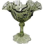 Fenton Rose Pattern Olive Green Ruffled Edge Stemmed Bowl