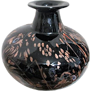 Art Glass Vase Black with Gold Incorporated