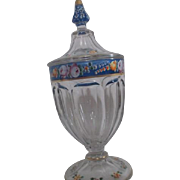 Footed Clear Glass Candy Dish with Hand Painted Trim