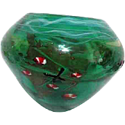 Large Green Art Glass Bowl with Swirls of Christmas Candy Imbedded