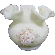 Fenton Satin Glass Rose Bowl with Ruffled Edges Hand Painted Flowers Signed