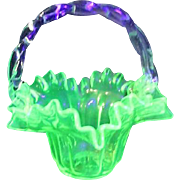 Florescent Glass Basket with Ruffled Edges and Clear Twisted Rope Glass Handle