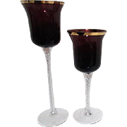 Pair of Deep Burgundy Colored Decorative Stemmed Goblets
