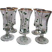 Set of 6 Cordial Glasses with Shamrock and Gold Trim Republic of Ireland