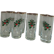 Set of 8 Crystal Christmas Water Glasses Holly Design Gold Rim