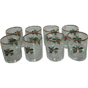 Set of 8 Crystal Christmas Whiskey Glasses Holly Design Gold Rim from Poland