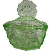 Florescent Green Glass Lidded Vanity Jar with Leaf Design