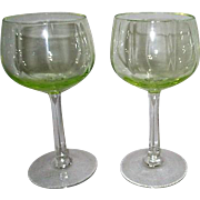 Pair of Florescent Wine Goblets