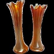 Two Carnival Glass Marigold Vases with Splash Drop Rim