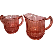 Pink Glass Cream and Sugar Set