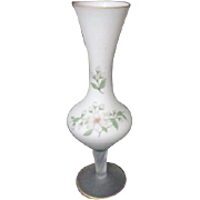 White Satin Frosted Glass Vase Gold Trim