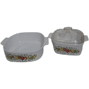 Set of Two Corning Ware Spice of Life Casserole Dishes One Lid