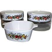 Corning Ware Spice of Life Set of Small Dish and 2 Lidded Storage Containers