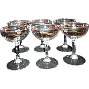 Set of 6 Champagne Goblets with Gold Wheat and Leaf Pattern