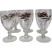 Set of 6 Wine Goblets with Gold Wheat Pattern