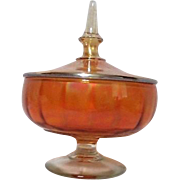 Marigold Carnival Glass Footed Lidded Candy Dish