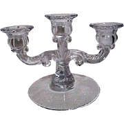 Clear Glass Three Candle Candelabra