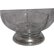 Etched Crystal Divided Bowl with Silver Plated Base